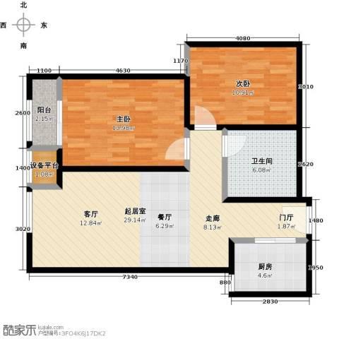 唐韵三坊2室0厅1卫1厨77.00㎡户型图