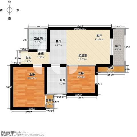 莱茵小城2室0厅1卫1厨69.00㎡户型图