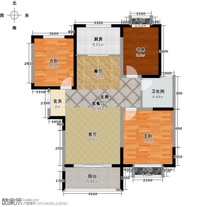 阳光100国际新城116.69㎡C2户型 三室两厅一卫户型3室2厅1卫