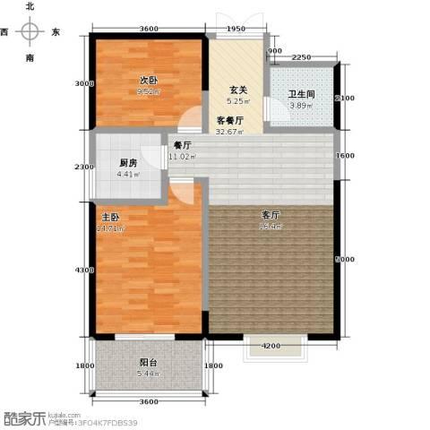 金裕�顶2室1厅1卫1厨99.00㎡户型图