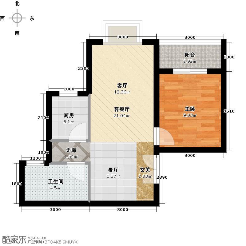 宏林尚品58.12㎡B4户型 1室2厅1卫1厨户型
