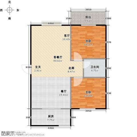 锦雁花园2室1厅1卫1厨118.00㎡户型图