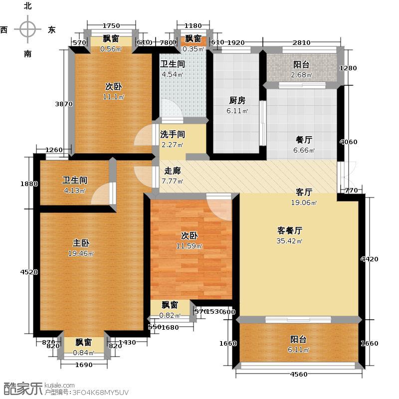 荣华水岸新城116.96㎡K户型三室两厅两卫户型3室2厅2卫