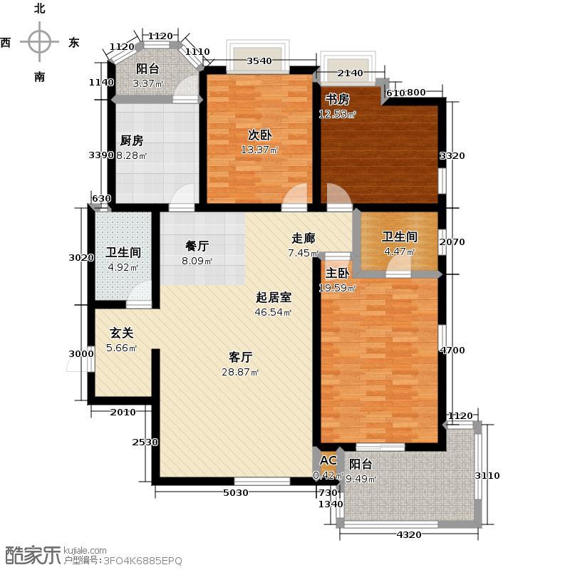 伊顿公馆141.00㎡G户型3室2厅2卫1厨户型3室-T
