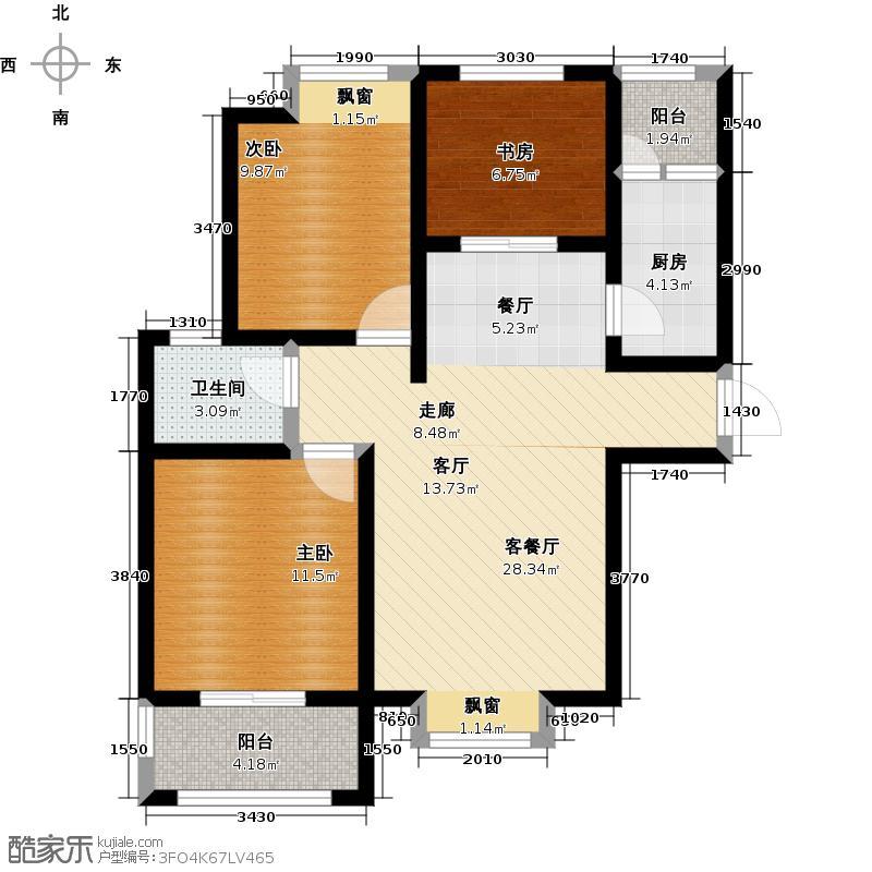 帕堤欧公馆99.73㎡L户型 三室两厅一卫户型3室2厅1卫