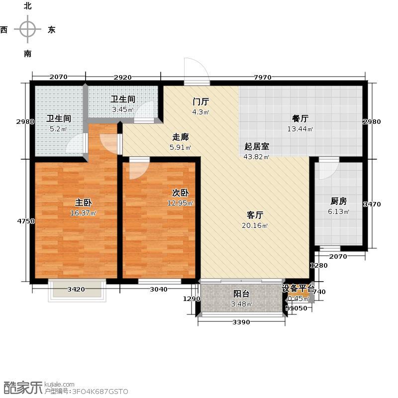 新华苑113.05㎡一号楼1、2、3单元中户户型2室2厅1卫