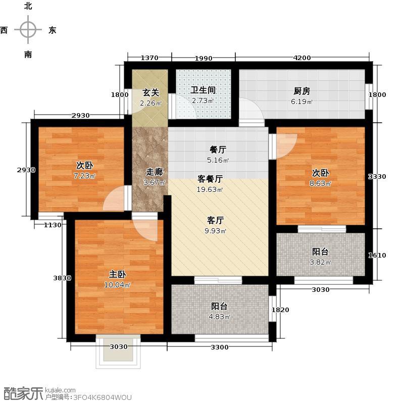 万象春天三室两厅两卫95.40平米G户型