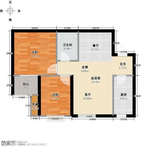 莱茵小城2室0厅1卫1厨80.00㎡户型图