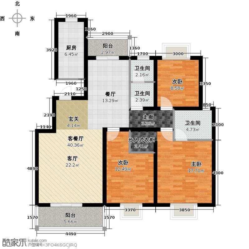 颐和盛世127.06㎡12号楼 D3户型 三室两厅两卫 南北通透 南向双卧 阳光餐厅户型