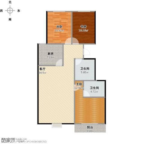 锦华名苑3室1厅2卫1厨116.00㎡户型图