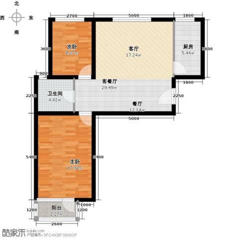 蓝山郡2室1厅1卫1厨88.00㎡户型图