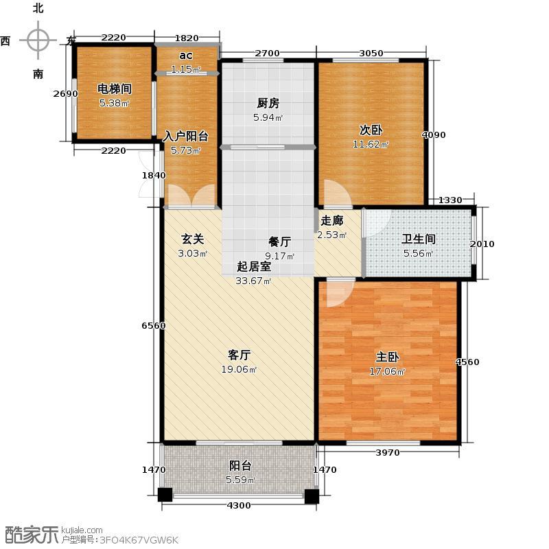 �海逸景湾98.75㎡电梯洋房C-3户型2室2厅1卫