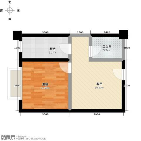 时丰姜溪花都1室1厅1卫1厨52.00㎡户型图