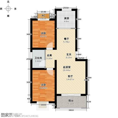 世纪名城2室0厅1卫1厨88.00㎡户型图