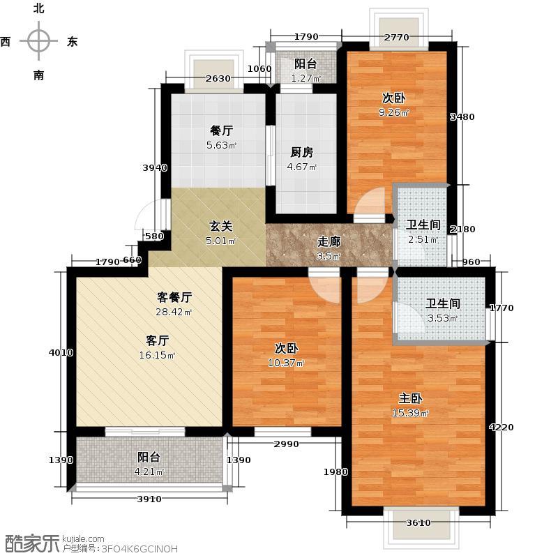 颐和盛世108.22㎡H3户型3室2厅2卫