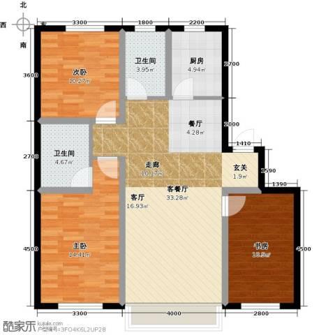 凯荣禧乐都3室1厅2卫1厨108.00㎡户型图