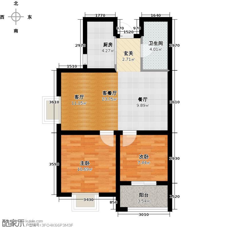 景寓学府111.00㎡B1户型 3室2厅1卫1厨户型