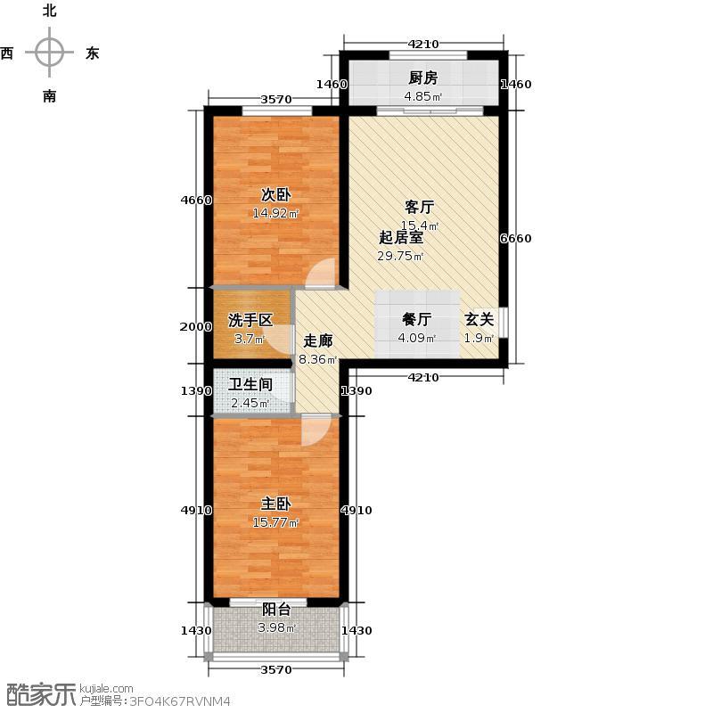聚龙湾85.57㎡C1户型2室2厅1卫