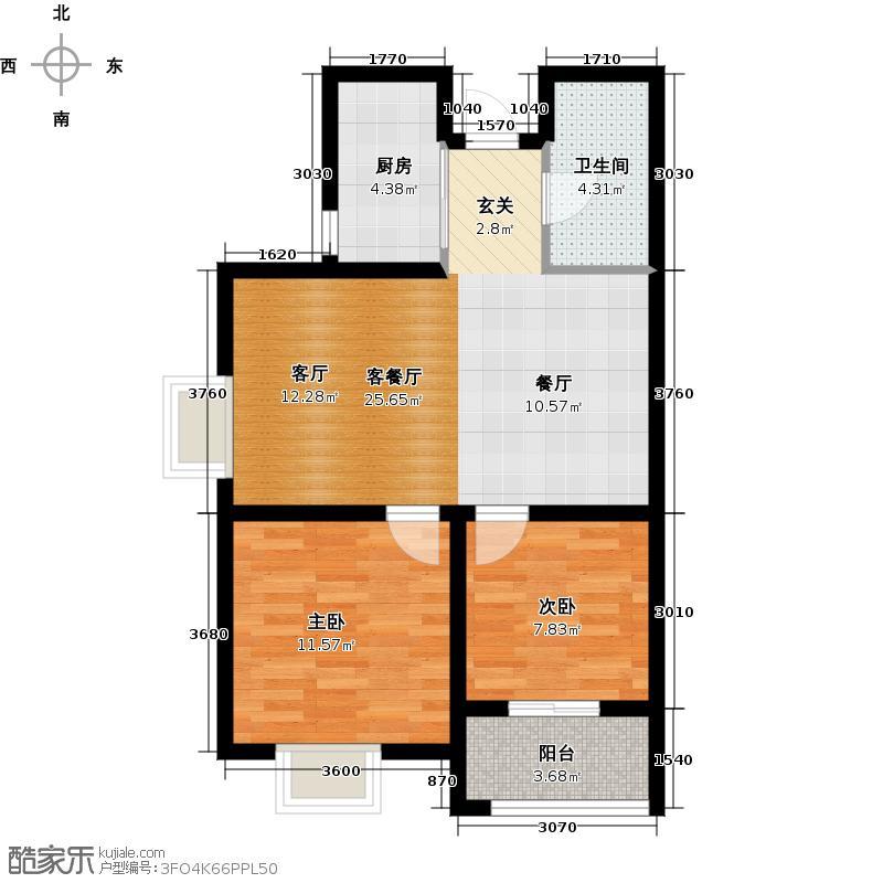 景寓学府80.85㎡B1户型 两室两厅一卫 空间序列流畅,双南向宽敞卧室,配有阳台、飘窗;户型