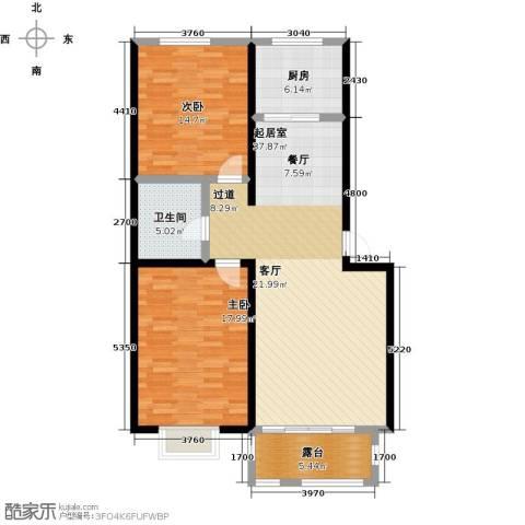 大学时光2室0厅1卫1厨99.00㎡户型图