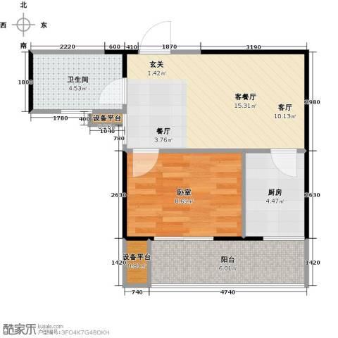 东岸阳光1厅1卫1厨55.00㎡户型图