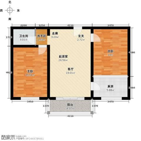 聚龙湾2室0厅1卫1厨78.86㎡户型图
