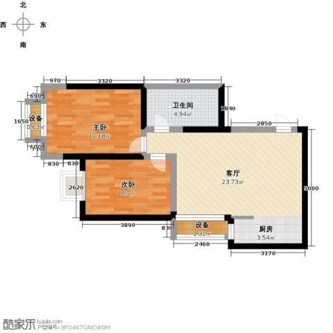 简约花园2室1厅1卫0厨60.00㎡户型图