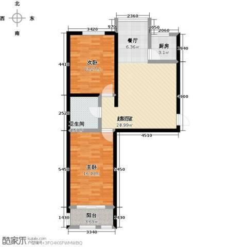 大学时光2室0厅1卫1厨80.00㎡户型图