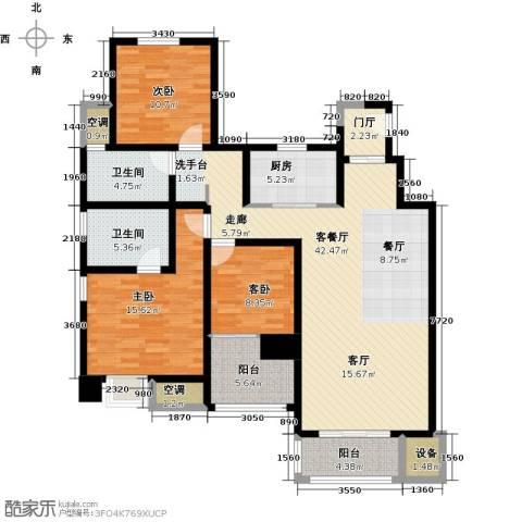 中锐星尚城3室1厅2卫1厨127.00㎡户型图