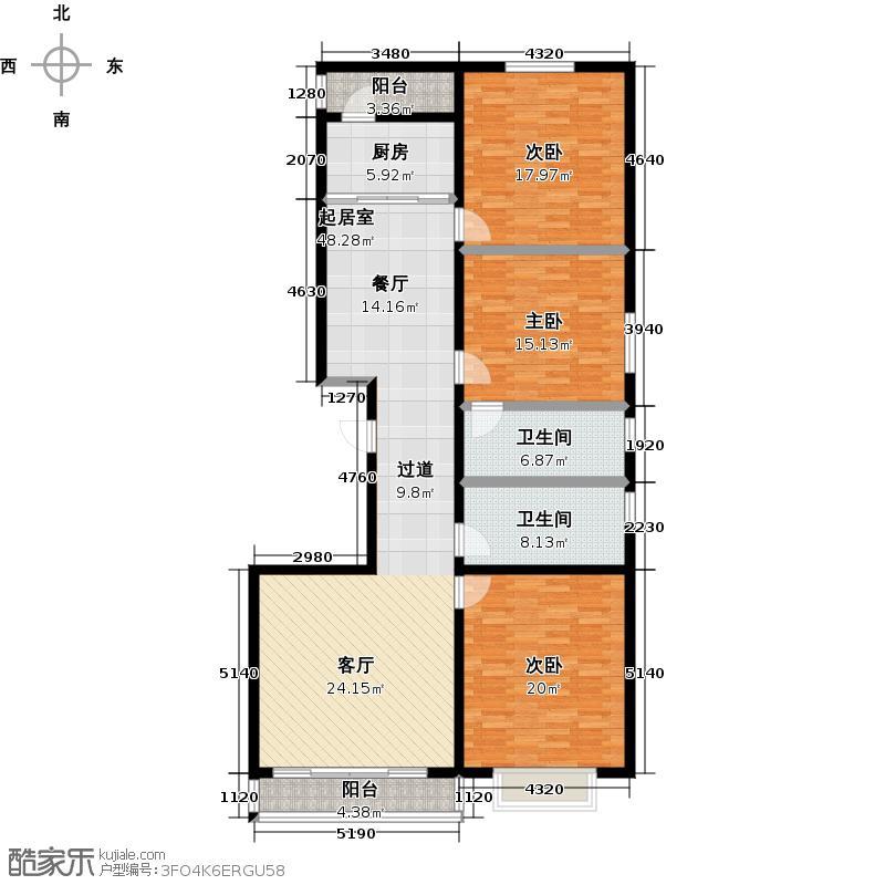 盛世华庭148.16㎡C户型3室2厅2卫