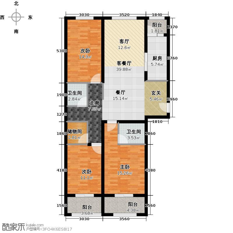 万象春天三室两厅两卫144.74平米E户型