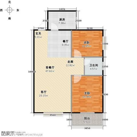 锦雁花园2室1厅1卫1厨124.00㎡户型图