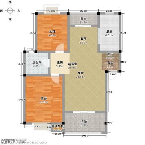 吉祥国际花园2室0厅1卫1厨90.00㎡户型图