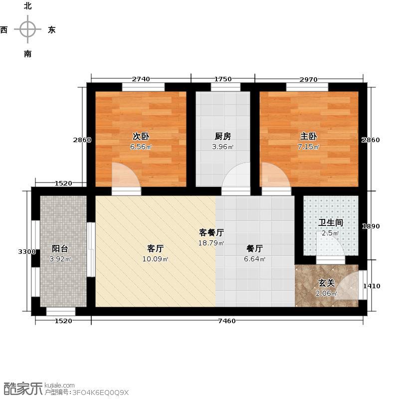 万象春天71.18㎡两室两厅一卫71.18平米A户型2室2厅1卫