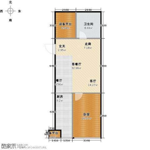 财富中心二期1厅1卫1厨100.00㎡户型图