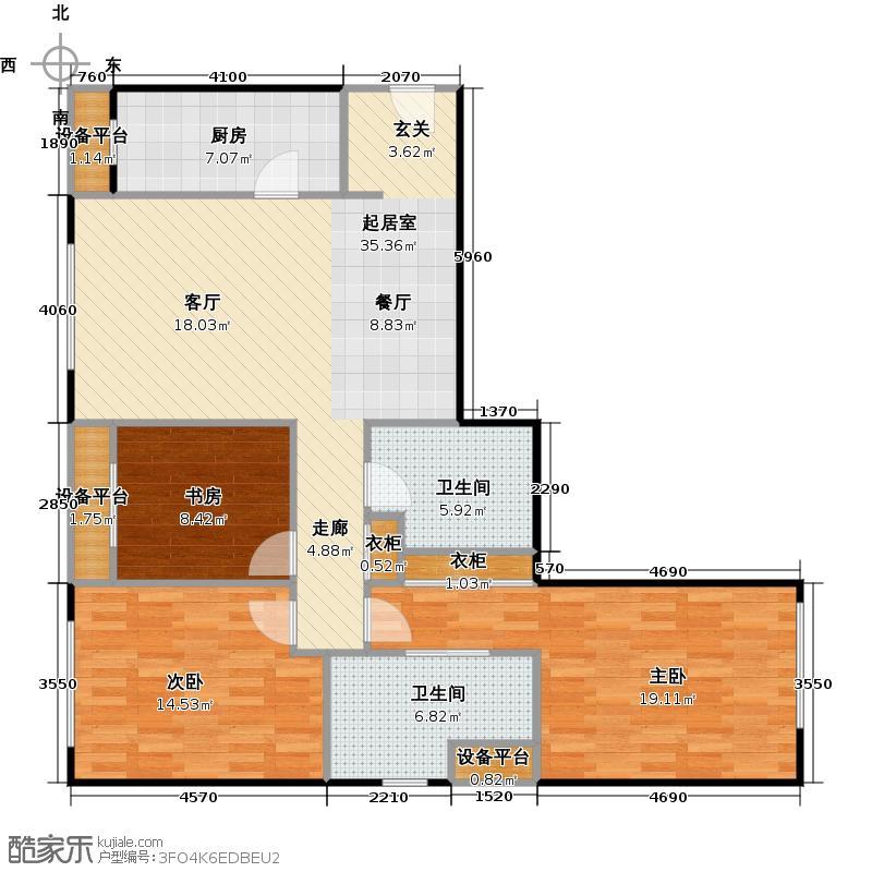 橡树湾137.00㎡Q户型 三室两厅两卫户型3室2厅1卫