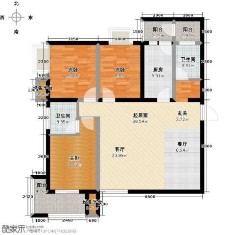 卡布奇诺国际社区3室0厅2卫1厨132.00㎡户型图