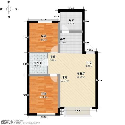 凯荣禧乐都2室1厅1卫1厨86.00㎡户型图