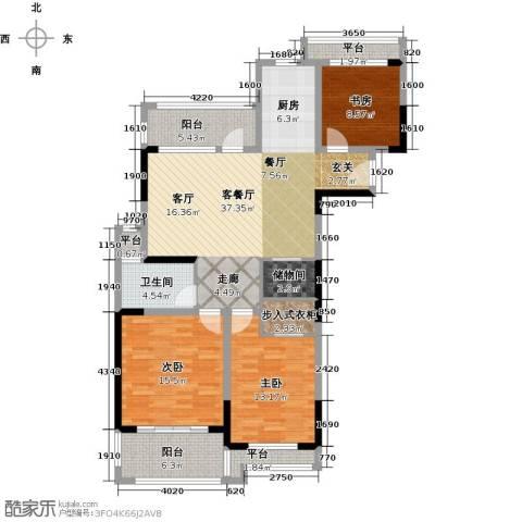 银河湾紫苑3室1厅1卫0厨114.00㎡户型图