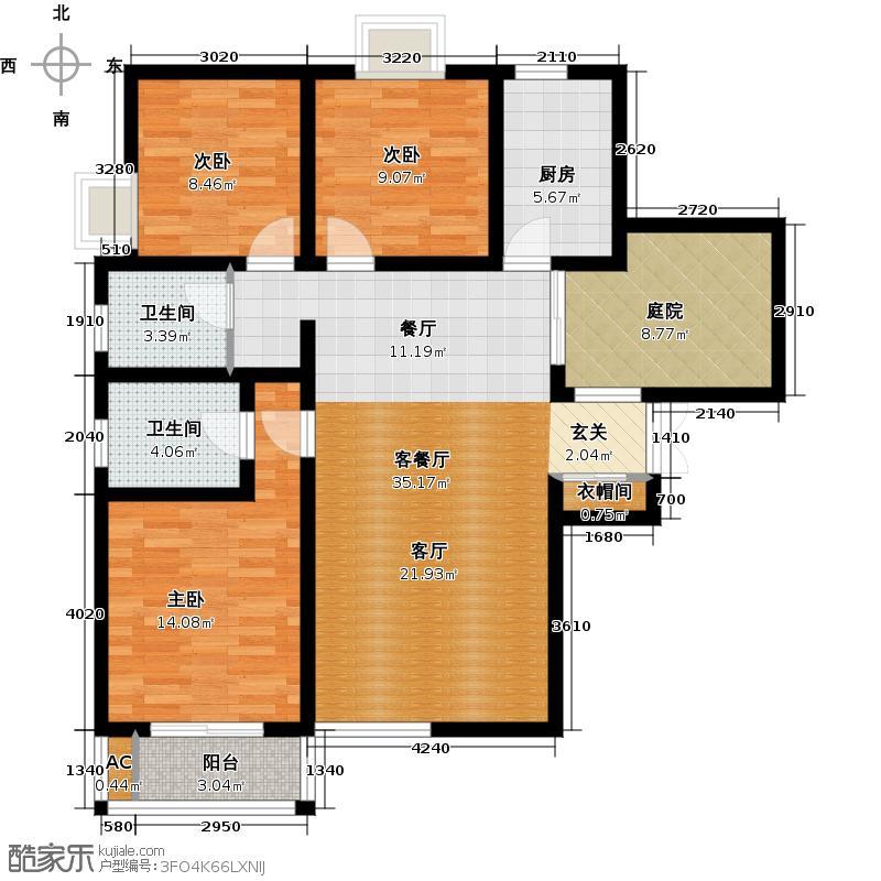 景寓学府122.50㎡C1户型 3室2厅2卫1厨户型