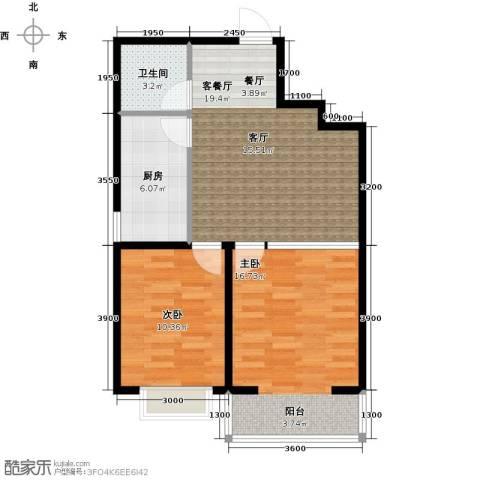 公元大道2室1厅1卫1厨72.00㎡户型图