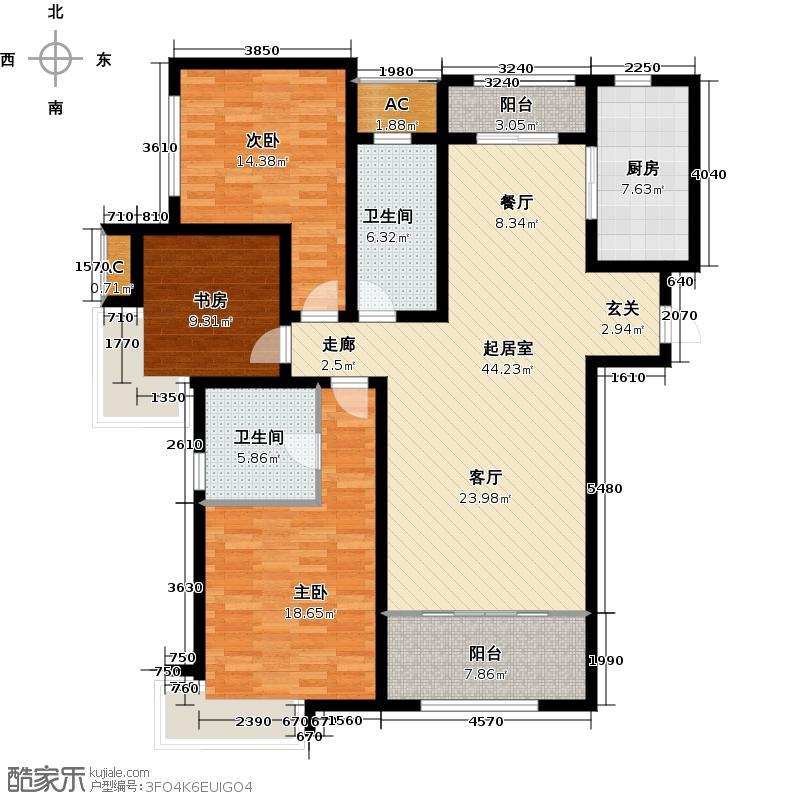 绿地新里卢浮公馆137.00㎡C3三室两厅两卫户型QQ
