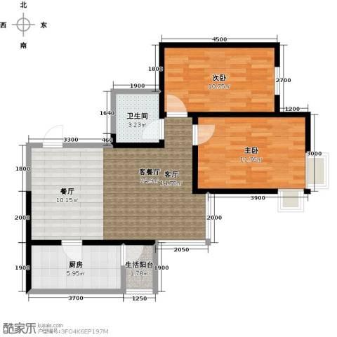 艾博都泊林2室1厅1卫1厨85.00㎡户型图