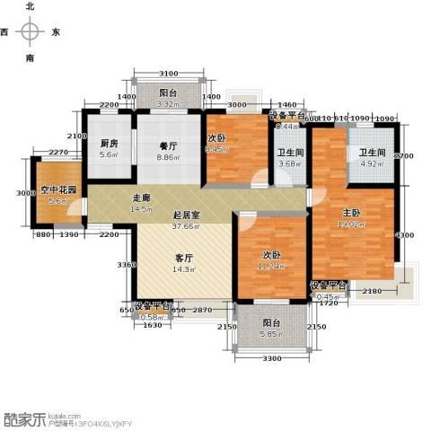 紫薇曲江意境3室0厅2卫1厨156.00㎡户型图