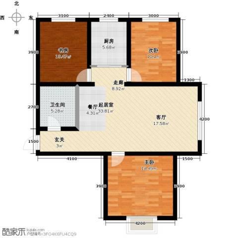 水泉文苑3室0厅1卫1厨119.00㎡户型图
