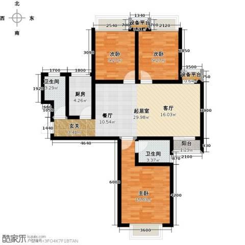 华府御城3室0厅2卫1厨113.00㎡户型图