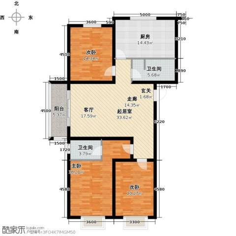 东润豪景3室0厅2卫1厨138.00㎡户型图
