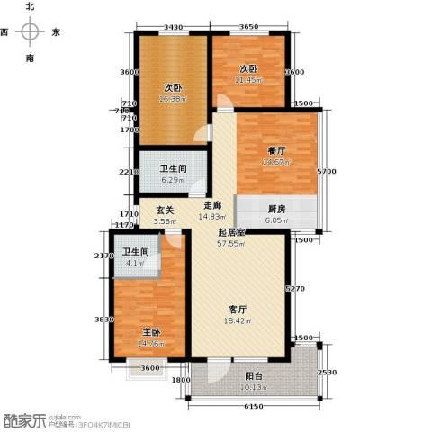 东润豪景3室0厅2卫0厨155.00㎡户型图