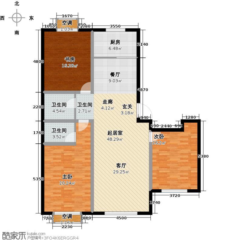 富贵国际花苑132.85㎡A2户型3室2厅2卫
