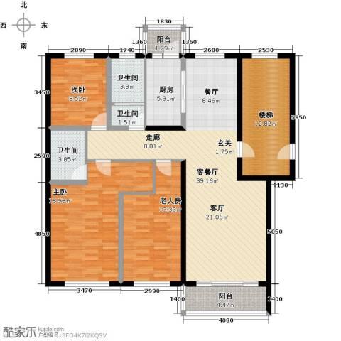 俪城3室1厅3卫1厨130.00㎡户型图